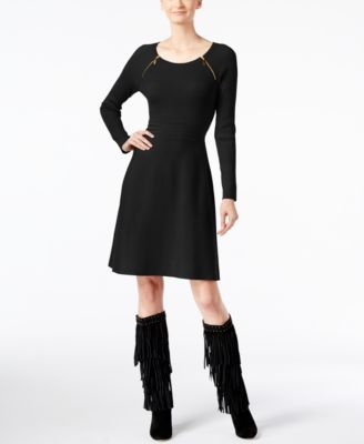 INC International Concepts Petite Zip-Detail Sweater Dress