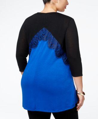 Belldini Plus Size Lace-Appliqué Colo..