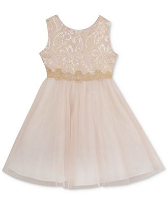 Rare Editions Brocade Tulle Dress Toddler & Little Girls