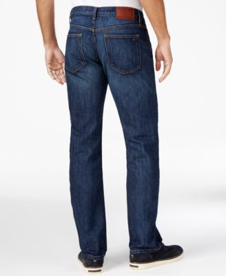 Tommy Hilfiger Mens Drake Relaxed-Fit Dark Blue Wash Jeans