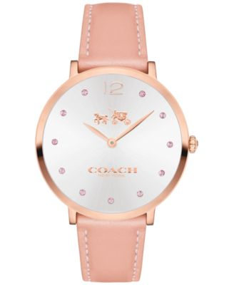 COACH Women's Pink Leather Strap Watch 35mm 14502667