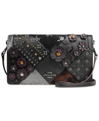 COACH Embellished Canyon Quilt Foldover Crossbody in Glovetanned Leather