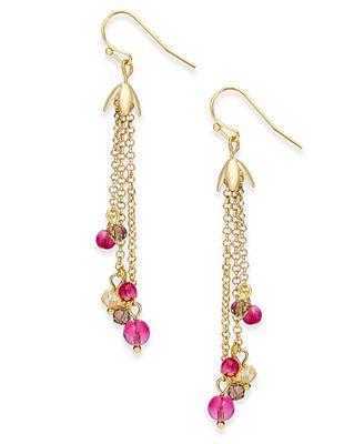 vera bradley goldtone floral fringe earrings jewelry