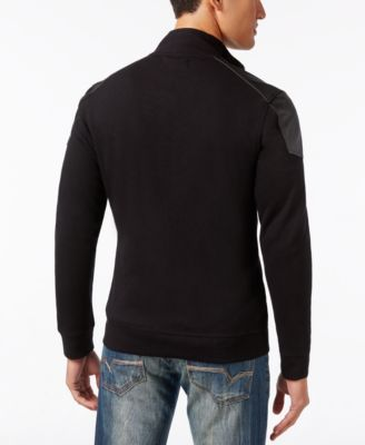 INC International Concepts Mens Ribbed Zip-Front Jacket with Faux-Leather Trim