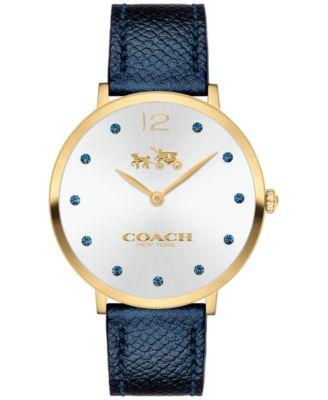 COACH Women's Slim Easton Blue Leather Strap Watch 35mm 14502687