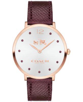 COACH Women's Slim Easton Cherry Leather Strap Watch 35mm 14502694