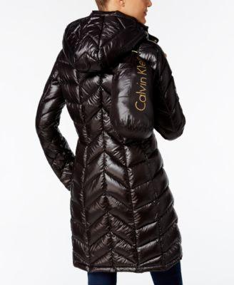 Calvin Klein Chevron Quilted Packable Down Coat