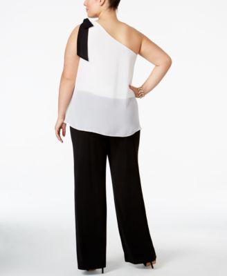 INC International Concepts Plus Size One-Shoulder Colorblocked Jumpsuit
