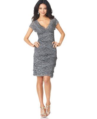Marina Petite Cap Sleeve Lace Dress Dresses Women Macy S